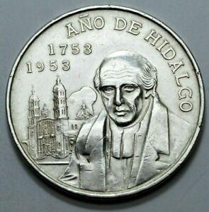1953 Mo Mexico Ano De Hidalgo Cinco 5 Pesos Ley.720 Silver Large Crown Size Coin