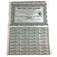 Authentic 1896 Paris France Bond Certificate W/ Several Bonds Script Document
