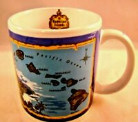 Hawaiian Islands Coffee Mug Blue Island Chain Cup Map State Motto