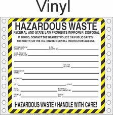 Hazardous Waste Vinyl Labels HWL410 VINYL (PACK OF 500)