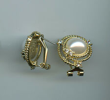 SIMULATED MOBE PEARL & CRYSTAL GOLD PLATED ROUND OMEGA BACK EARRINGS