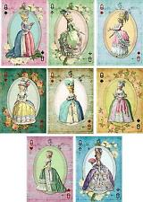 Vintage inspired Marie Antoinette playing cards tags set of 8 with envelopes