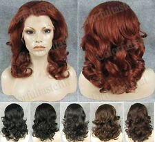 "Front lace 16"" medium wavy curly copper red wig,black brown avlb.Top quality"