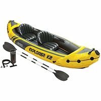 Intex Explorer K2 Kayak 2-Person Inflatable Canoe Set Aluminum Oars Paddles Boat