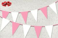 Baby Pink Coloured Bunting Banner 15 Flags 12ft Baby shower Boy by PARTY DECOR