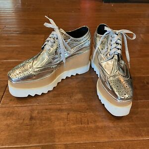 Stella McCartney Silver Elyse Platform Shoes size 36 Oxford Made in Italy