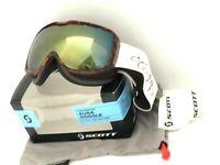 $95 Scott Aura Ski Goggles Womens Snowboard NWT Groove Brown Yellow Chrome Lens