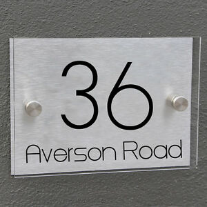 House Number Personalized Door Sign Plaque Aluminium Glass Effect Acrylic Modern