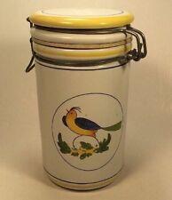 "Rosenthal Netter Ceramic Canister Jar Stopper Top Yellow Blue Bird & Bands 7"""