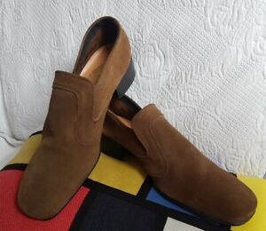 K Vintage 70s Slip-on Brown Suede Casuals shoes Size 8 UK
