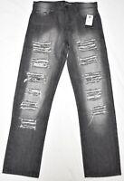 $50 NWT Mens Southpole Jeans Distressed Slim Straight Denim Black 34x30 34 N542