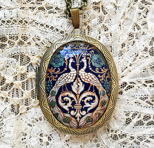 ART NOUVEAU PEACOCKS Vintage Picture Locket Necklace VINTAGE BIRD ART