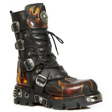 New Rock 591-S1 Red Flame Boots Metal Black Leather Heavy Punk Gothic Boots