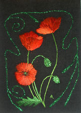 "ACEO Original ""Art Nouveau Poppies"" Silk Hand Embroidery - A Lobban"