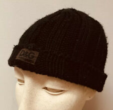 D&G Dolce & Gabbana Black Cable Knit Ribbed Beanie Youth Boys Girls S 2-4 Years