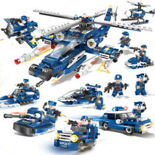 8in1 City Police Helicopter Model Building Blocks with Cop Figures Toys Bricks
