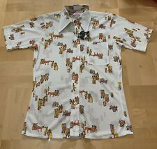 Vintage Boys Shirt Western Disco Button Short Sleeve Horse Wagon 1970s NEW Sz 18