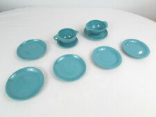 Lot of Vtg Boonton Ware Melamine Melmac Turquoise Blue Plates Saucer Winged Bowl