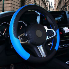 Car PU Leather Steering Wheel Cover Anti-slip Protector Fit 38cm/15inch Blue 17