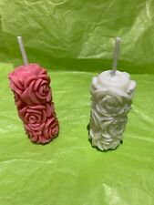 Rose Flower and  wrapped Present small Votive style Scented Candles