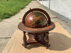 Vintage Wooden Spining Globe With Astrology Signs