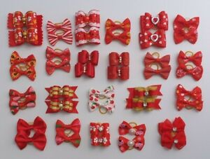 Pair of Red Dog & Puppy Grooming Bows, Fur Hair Bands Top Knot, Boys or Girls