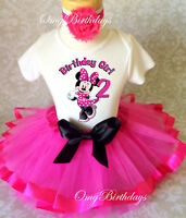 Minnie Mouse Hot PINK Black Dots 2nd Birthday Shirt Tutu Outfit Set girl