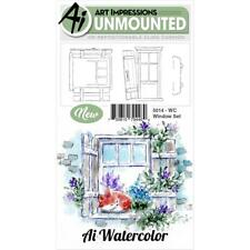 New ART IMPRESSIONS RUBBER STAMP Cling  watercolor WINDOW SET FREE USA SHP
