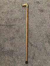 Vintage Antique Brass Horse Head Cane Handle with Wooden Walking Stick