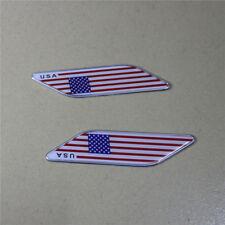 1 Pair of U.S.A. Flag Al Alloy Fender Sticker Badge Emblem Design Car America 4