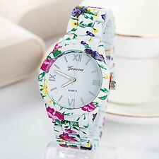 Floral Teen Gift White Fashion Wristwatch Woman Girl Flowers Band Watch