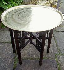 ISLAMIC ANTIQUE  FOLDING SIDE TABLE WITH  BRASS TRAY TOP