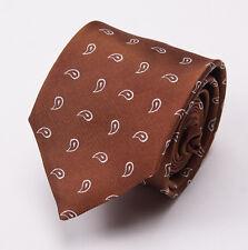 New $265 E.MARINELLA NAPOLI 7-Fold Silk Tie Brown-White Woven Paisley Design
