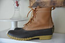 Women's LL Bean Duck Boots Brown Leather Rubber Rain Boots Size 10 N Narrow