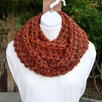 INFINITY SCARF LOOP COWL Rust Gold Brown Burnt Orange Thick Crochet Knit Circle