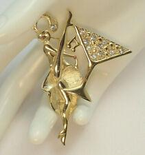 Vintage Martini Celebration Lady Gold Tone Rhinestone Pin Brooch By MJ ENT