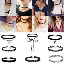 8Pcs Sexy Gothique Punk Velours Lace Choker Collier chaîne Collier Bijoux