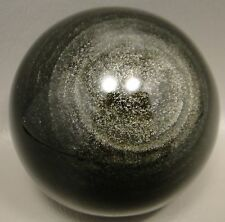 Silver Sheen Obsidian Sphere Stone Glow Rock Gemstone 2.5 inch Ball #S4