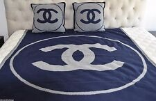 CHANEL BLUE & GRAY BLANKET & PILLOW SET LOGO WOOL CASHMERE - MUST SEE! SOLD OUT