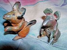 HAND MADE MICE SCULPTURES 2.5 INCHES TALL AND 3 INCHES TALL PAINTED BROWN