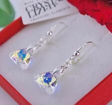 Pendientes de cristales de Swarovski ® Triángulo Cristal AB 12 mm plata esterlina 925