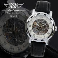 Automatik Skelettuhr Herrenuhr Mechanische Armbanduhr Leder Silber, Gold U1368