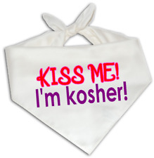 Kiss Me I'm Kosher - Dog Bandana One Size Fits Most - Cute Love Pet Jew Jewish