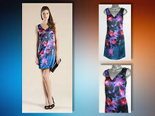 MONSOON Multi Floral Amaryllis Print Beaded Neck Tunic Dress Cocktail UK12