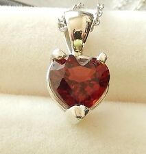 "Natural  Garnet  7x7 Heart Pdt. / 16"" SS chain/  1.42cts. TW"
