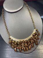 """Vtg Bib Statement Necklace Gold Time Leaf Cluster Dangle Crystal Is Charm 16"""" +"""