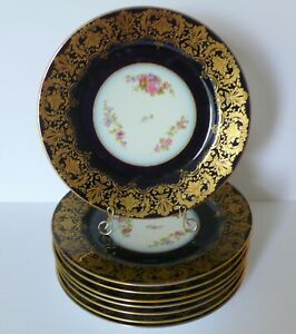 """8 Antique Limoges W. GUERIN Cobalt Blue Floral Cabinet Dinner Plates 11"""""""