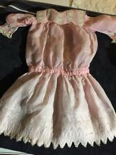 ANTIQUE cotton dress big for FRENCH doll Jumeau Steiner Bru antique lace