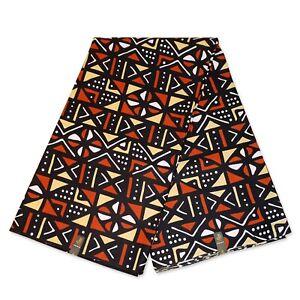 African Mud cloth / Bogolan fabric Orange-Brown print (Traditional Mali print)