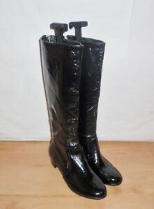 NEW Schuh ladies black patent faux leather knee length boots - various sizes